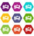 gasoline railroad tanker icons set 9 vector image