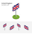 great britain flag set 3d isometric icons vector image vector image