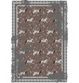horse and paisley grey brown carpet design vector image vector image
