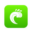 large curling wave icon digital green vector image vector image