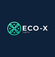 letter x eco leaves logo icon design template vector image vector image