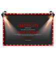 luxury certificate with spotlights vector image vector image