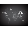 Map of the world top-level domain vector image vector image