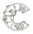 mechanical letter c engraving vector image vector image