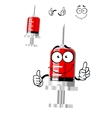 Medical isolated syringe cartoon character vector image