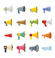 megaphone loud speaker icons set flat style vector image