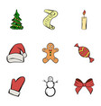 merry christmas icons set cartoon style vector image vector image