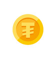 mongolian tugrik currency symbol on gold coin flat vector image vector image