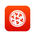 mushroom pizza icon digital red vector image vector image