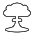 nuclear explosion line icon radioactive explosion vector image