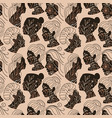 pastel beige seamless pattern with female faces vector image