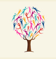 people shape tree for community help concept vector image vector image