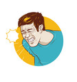 person who sneezes or infected with flu symptoms vector image vector image