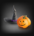 realistic halloween pumpkin and hat vector image