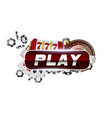 reg round play button with metallic border on vector image