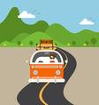 Retro van travel concept flat design vector image vector image