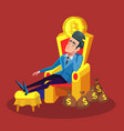 rich businessman sitting on throne with bitcoin vector image vector image