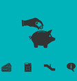 Saving money with piggy icon flat