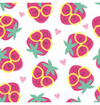 seamless pattern with cute strawberry vector image vector image