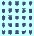 Shield color icons on blue background vector image