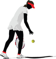 Silhouette of woman tennis player vector image vector image