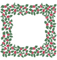 square frame of christmas holly leavesseamless vector image vector image