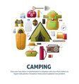 summer camp poster of forest and hiking camping vector image