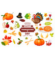 thanksgiving icons autumn pumpkin traditional vector image vector image