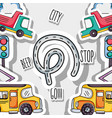 transportation elements patches background design vector image