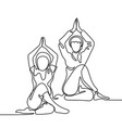 two women doing exercise in yoga pose vector image vector image
