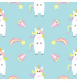 unicorn standing kawaii head face star comet vector image