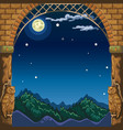 view through the arch of the stone castle at night vector image