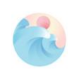 wave logo for tourism emblem vector image vector image