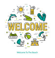 welcome - round linear concept vector image