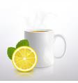 white mug tea with lemon and mint vector image vector image