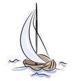 wooden boat sailing on white background vector image vector image