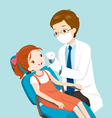 Dentist And Cute Girl On Dental Chair vector image