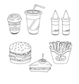Set of cartoon fast-food meal lineart vector image
