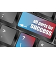 all parts for success button on computer keyboard vector image vector image