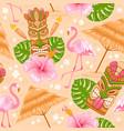 aloha seamless pattern with tiki mask and flamingo vector image