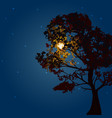 autumn tree on a background lunar night and the vector image vector image