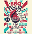 bbq party vintage poster typography poster vector image