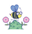 beautiful bee flying in landscape vector image vector image