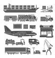 Cargo Transport and Packaging Icon Set vector image vector image