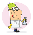 Caucasian Scientist Man Carrying A Flask vector image vector image