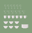 cookware set isolated on green background vector image