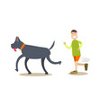 dog owner male with his pet flat vector image vector image