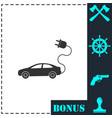 electric car icon flat vector image vector image