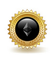 ethereum cryptocurrency coin gold badge vector image