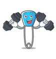 fitness safety pin character cartoon vector image